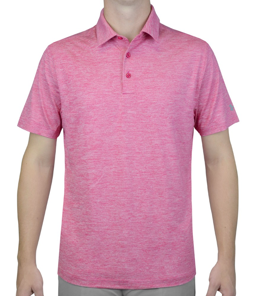 under armour elevated heather golf polo tropical pink