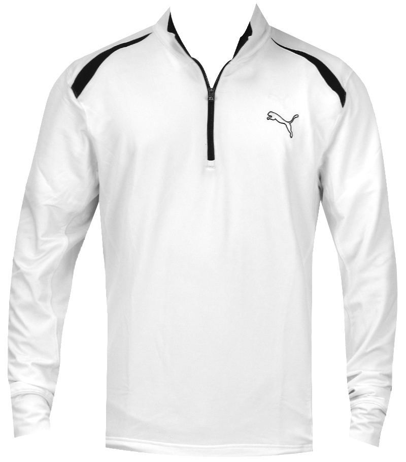PUMA JUNIOR 1/2 ZIP LONGSLEEVE TECH TOP WHITE - AW14 566187-02