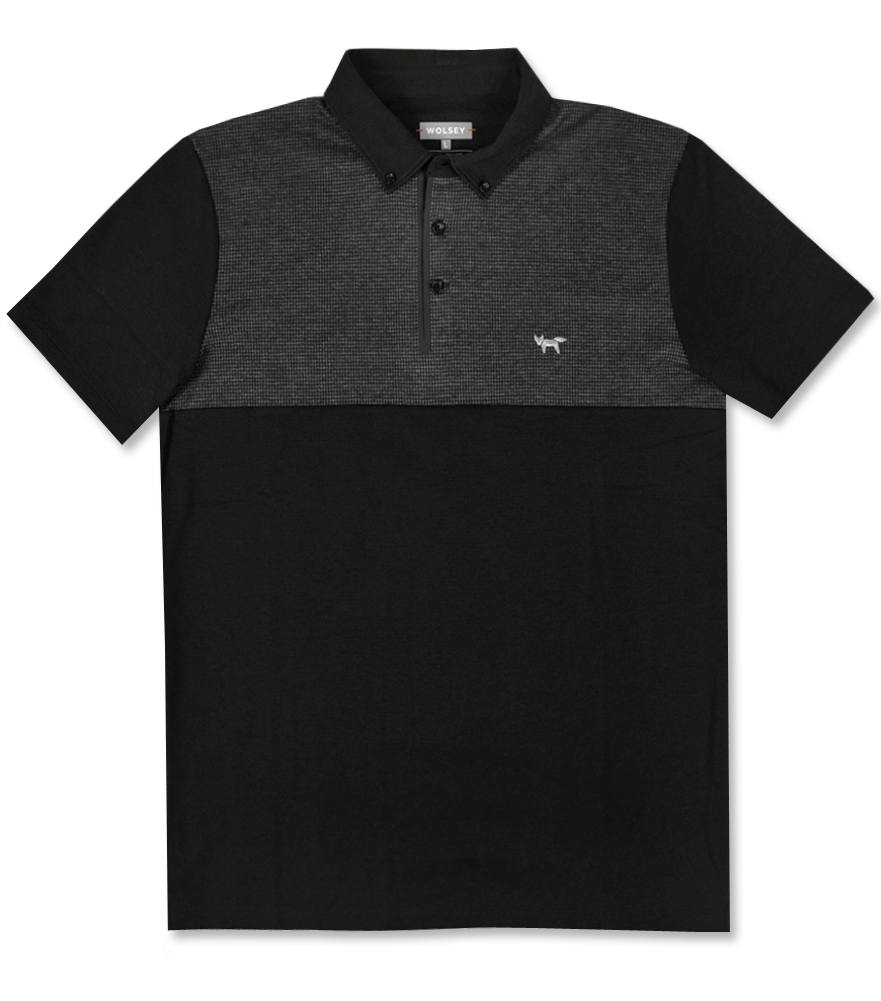 WOLSEY PENFOLD HOUNDSTOOTH COLOR BLOCK POLO BLACK - AW16