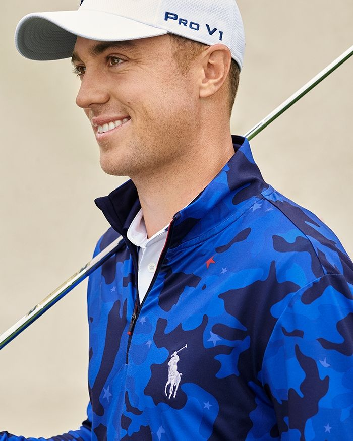 polo justin thomas half zip mock polo
