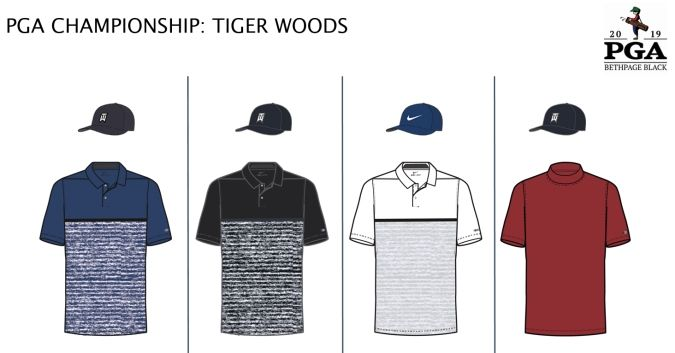 e82a01308 Tiger's wardrobe at the PGA will mainly be variations on the Nike Dri-Fit  Vapor Stripe shirt. You'll see him in his familiar red shirt on Sunday, ...