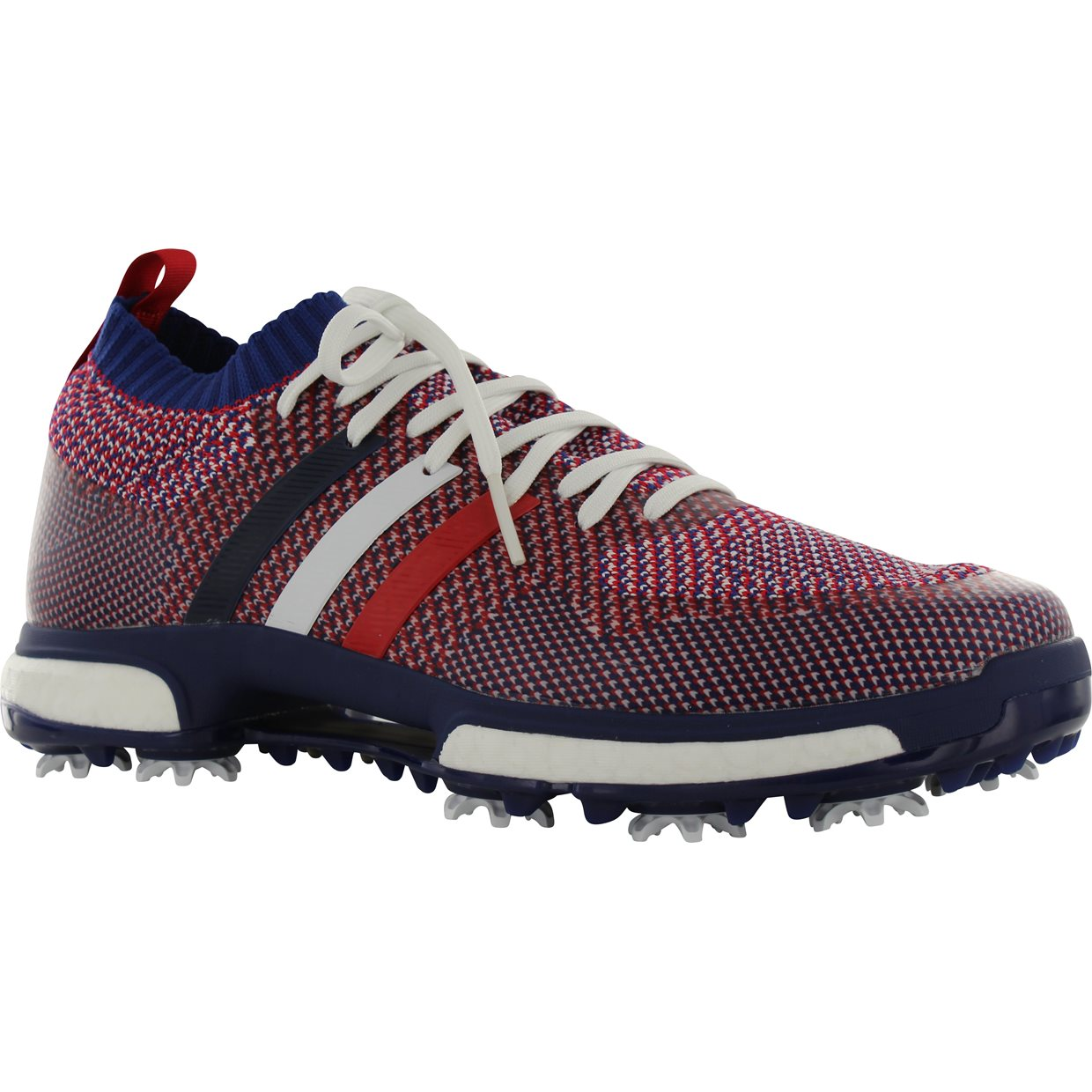 499620db0 Adidas Tour 360 Knit Golf Shoe in White Night Sky Scarlet Mfr. Close-Out